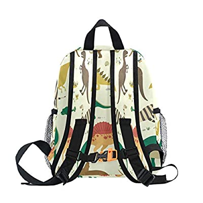 OREZI Dinosaur Vintage Colorful Toddler Bag with Detachable Chest Clip Travel Bag Snack diapers Bag Preschool Backpack for Kids Boy Girls | Kids' Backpacks