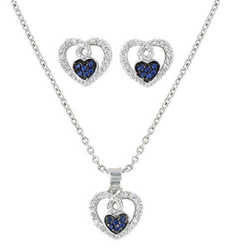 Montana Silversmiths Women's Curlicued Cerulean Heart Jewelry Set Silver One Size (Montana Silversmiths Jewelry Set)