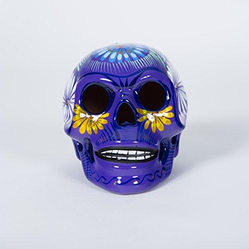 Knox and Harrison MS-102-M-P Hand Painted Ceramic Skull, Medium, Purple]()