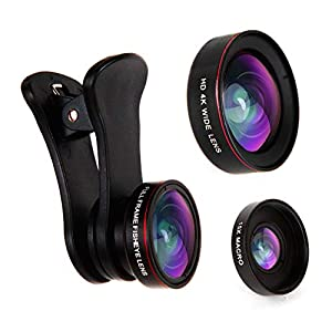 Empire of Electronics iPhone Camera Lens Kit – 3 in 1 Fisheye Lens, Wide Angle Lens & Macro Lens; Clip On Cell Phone Accessory, Camera Lens Attachment for Smartphone, iPhone, Android, Samsung & Tablet