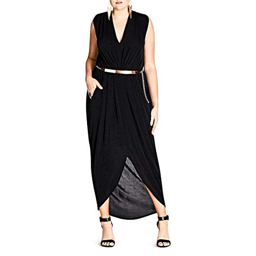 (City Chic Womens Plus Belted Jersey Maxi Dress Black 18)