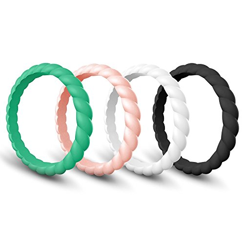 Twist Thin (Egnaro Silicone Wedding Ring Women, Thin Stackable Rubber Wedding Bands,Women Twist Braided Band Rings,Size 4-8,Comfortable fit,No-Toxic,Skin Safe)