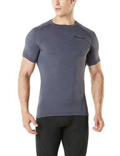 TM-R36-DG_X-Large Tesla Men's Thermal WinterGear Compression Baselayer Short Sleeve T Shirts - Man Dg