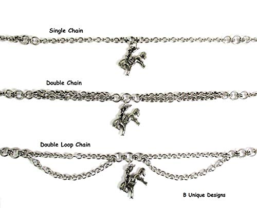 - Rodeo Horse Cowboy Cowgirl on Bucking Bronco Equestrian Rider Charm Anklet Chains Women's Personalized Add Initial and Birthstone Jewelry