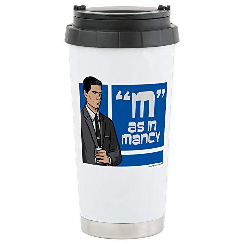 - CafePress Archer Mancy Stainless Steel Travel Mug Stainless Steel Travel Mug, Insulated 16 oz. Coffee Tumbler
