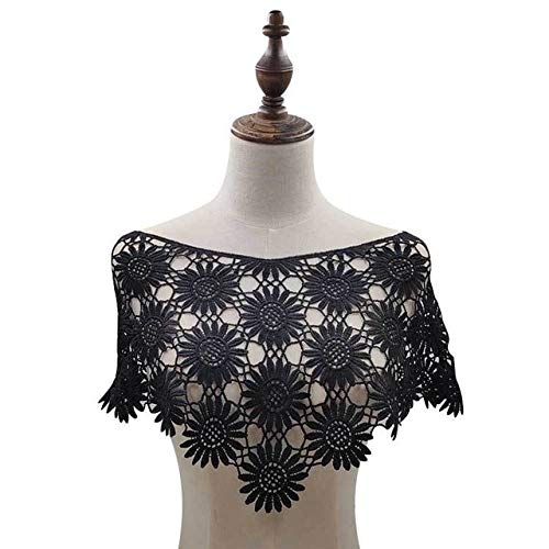 JIALING Lace Fake Collar 3D Lace Fabric Applique Pattern Shirt Top Tailor DIY Sewing Craft Neckline Decoration Black