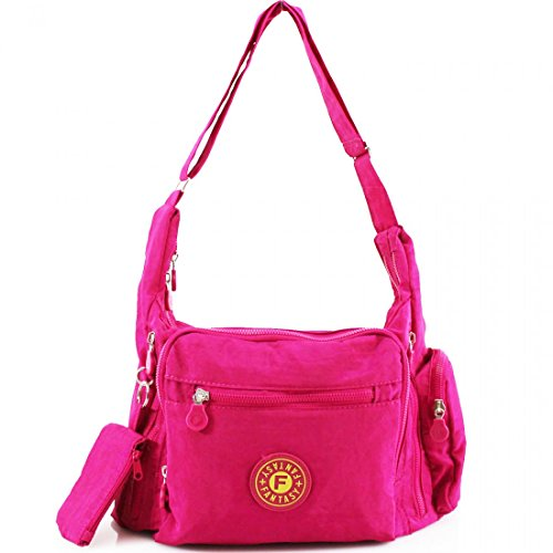 Satchel Messenger Pockets Body Handbag Tote Women Multi Ladies Shoulder Cross Fuchsia Bag aq7Tpz