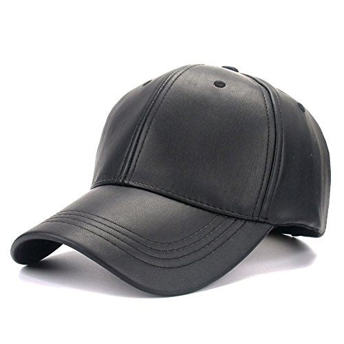 Faux Leather Baseball Cap Outdoor Sports Hats Caps for Women and Men (Solid (Black Faux Leather)