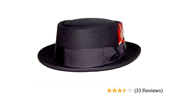 013d684dd16 Amazon.com  New Mens 100% Wool Black Porkpie (Pork Pie) Hat  Clothing