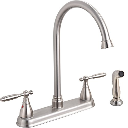 Brushed Nickel Two Handle Stainless Steel Kitchen Faucet With Sprayer,High Arch 360 Swivel Kitchen Faucet Side Sprayer