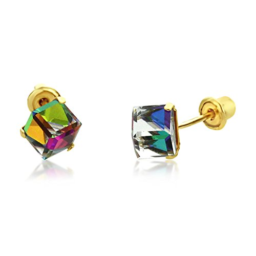 14K Yellow Gold Multi Color Crystal Cube Stud Earrings Screwback ( Available 5mm, 6mm ), 4 (14k 6 Mm Cube)