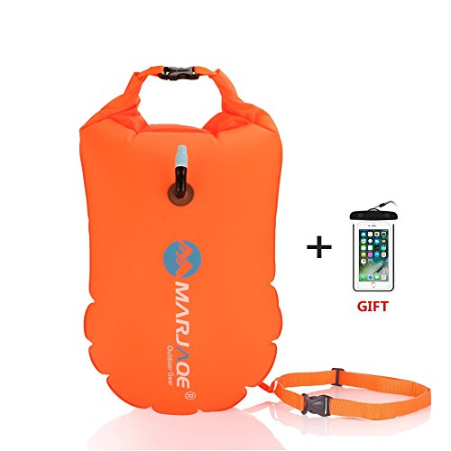 Safety Water - Jansite Swim Bubble with Dry Bag + Waterproof Phone Case for Open Water Swimmers, Safety Swim Buoy Tow Float Inflatable for Swimmers, Triathletes, Snorkelers ...