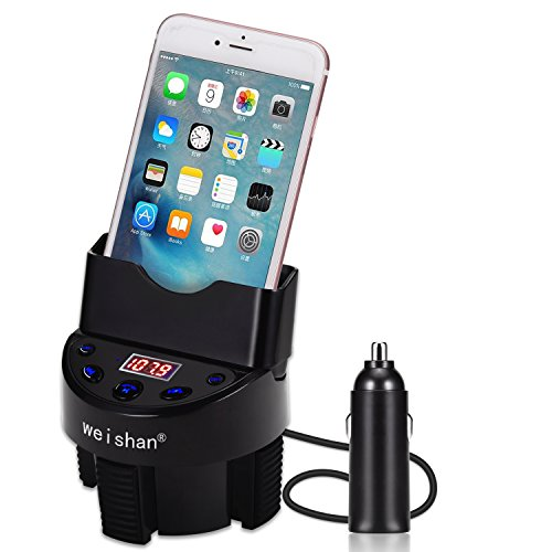 Cell Phone Holder for Car Cup, Bluetooth FM Transmitter Receiver with AUX USB Car Charger