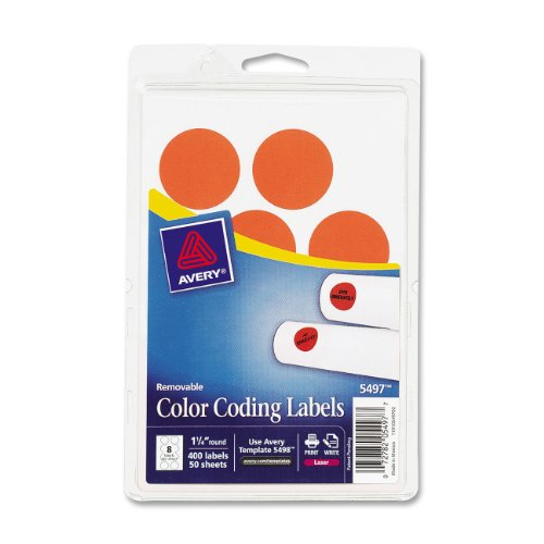 Avery Removable Print or Write Color Coding Labels for Laser Printers,  1.25 Inches, Round, Pack of 400   (5497) (Call For Service Labels compare prices)