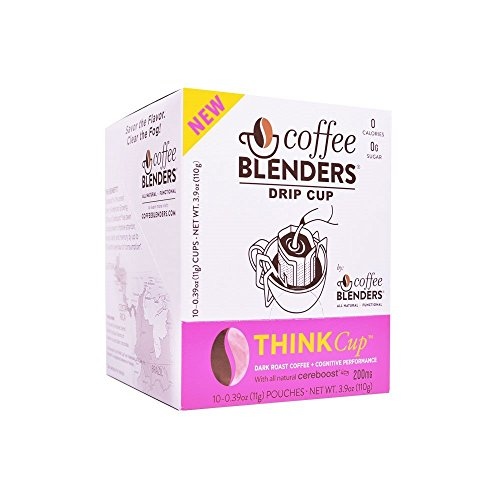 Coffee Blenders Functional Think Drip Cup 100% Arabica Coffee Infused with All Natural American Ginseng to Promote Cognitive Performance, Natural Energy, and Boost Immune System 10 count per (Performance Organic Street Disc)