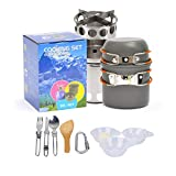 Camping Stove Cookware Set, Portable Lightweight Wood Stove Outdoor Hiking Picnic Backpacking Cooking Pot and Tableware for Camp Fire Dinner