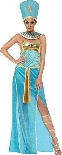 [Goddess Nefertiti Costume Blue Uk Dress 8-10] (Egyptian Woman Costume Uk)