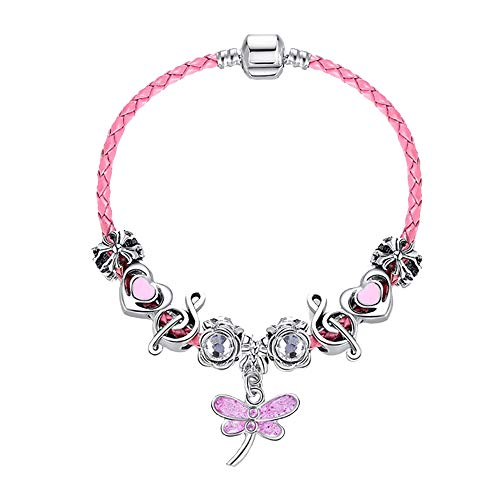 WikiMiu Beads Crystal Bracelets for Women, Glass Beaded Dragonfly Pendant Woven Leather Rope Bracelet ()