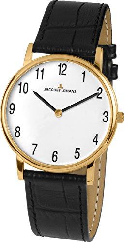 Jacques Lemans Women's Classic Vienna 29mm Black Leather Band Gold Plated Case Quartz Analog Watch 1-1849D