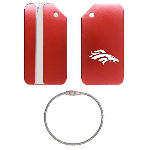 NFL THE DENVER BRONCOS STAINLESS STEEL - ENGRAVED LUGGAGE TAG - SET OF 2 (SCARLET RED) - FOR ANY TYPE OF LUGGAGE, SUITCASES, GYM BAGS, BRIEFCASES, GOLF BAGS