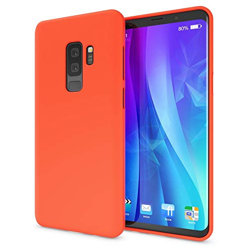 NALIA Case Compatible with Samsung Galaxy S9 Plus, Phone Cover Ultra-Thin Neon Silicone Back Protector Rubber Soft Skin, Protective Shockproof Slim Gel Bumper Smartphone Back-Case, Color:Orange