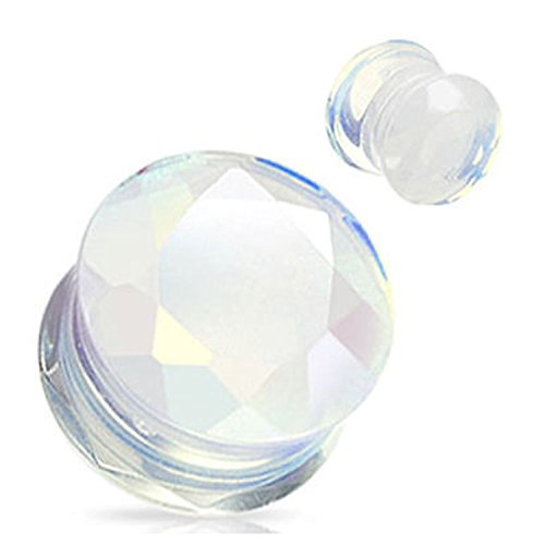 Opalite Stone Faceted Gem Cut Double Flared Plugs - Sold as Pairs (1/2