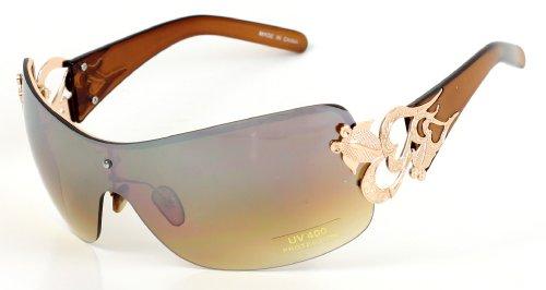 DG Style Heart Large Lens Frame Fashion Celebrity Designer Sun Glasses - Brown