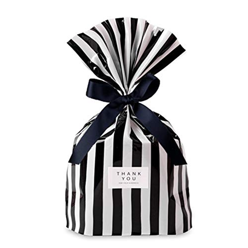 Black And White Gift Bags (Black Candy Cookie Bag 5.5x8 inch Party Favor Bags, Black White Stripes, Plastic Bags-Snacks,Party bag,100pcs (Black)