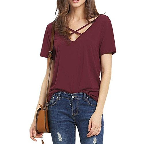 Woman T-Shirt Bandage Sexy V Neck Top Casual Lady Plus Size Lady Tees (X-Large, Red)