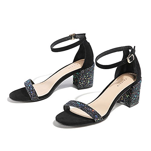 Sandals ZHIRONG Casual Female Summer Frosted Word Buckle Open Toe High Heel Thick Heel Women's Shoes (Color : B, Size : EU36/UK3.5/CN35) A