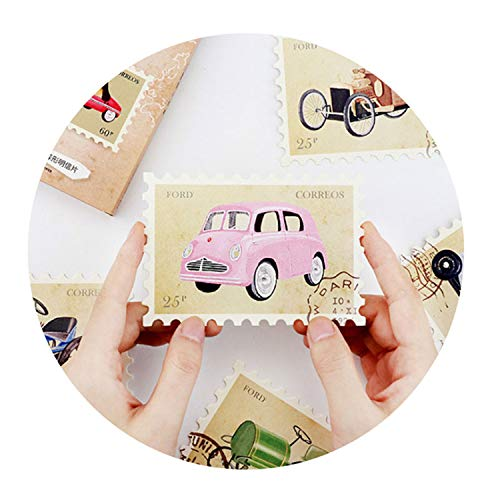 Accessory-Gitfs Decoration 30 Pcs/Lot Vintage Car Stamp Collection Postcard Greeting Card Xmas & Birthday Year Card Message Gift Cards ()