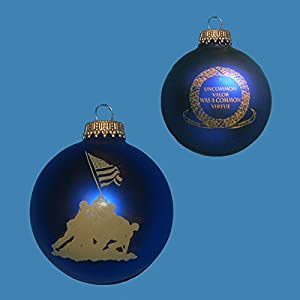Kurt Adler Glass Marine Corps Iwo Jima Ball Ornament, 2 5/8-Inch