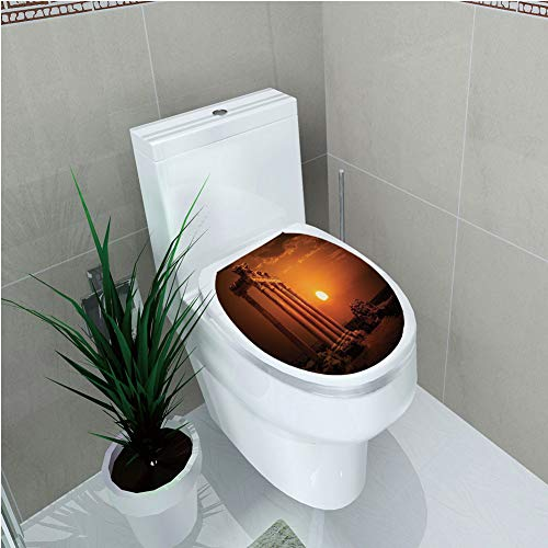 Toilet Cover Decoration,Ancient Decor,Antique Ancient Rome Empire Monuments Columns Statues with Sun Picture,Orange and White,3D Printing,W11.8