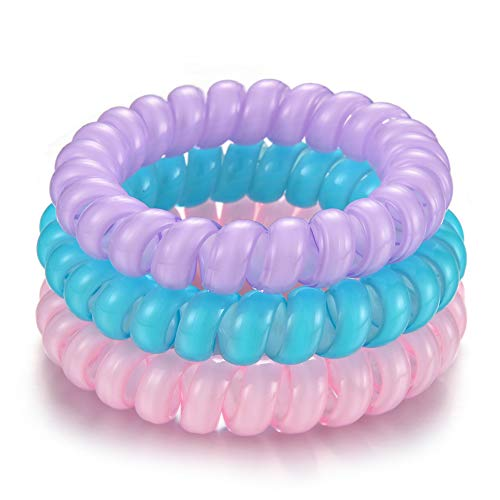 (JunXin 4 Piece Hair Coil Set ,Champagne, silver And multicolor,The traceless and original spiral Shaped Traceless hair ring and Bracelet, Suitable for All Hair Types (Macaron color))