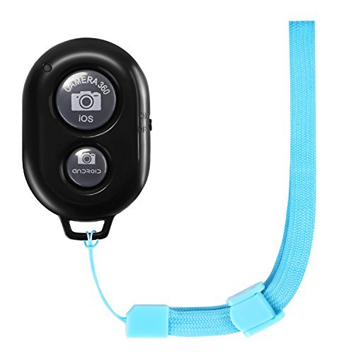 Neewer CellPhone Wireless Bluetooth Remote Control Shutter Release with Blue Wrist Strap for any iPhone and Android Mobile Devices, Such as iPhone, iPad, Samsung Galaxy/Note/Nexus, LG, Huawei and More