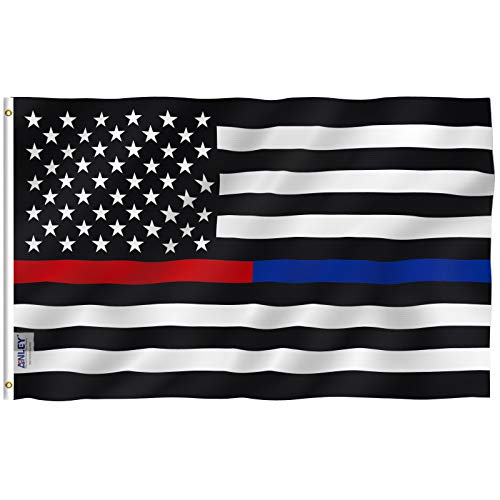 Anley Fly Breeze 3x5 Foot Thin Blue Line and Red Line USA Polyester Flag - Vivid Color and UV Fade Resistant - Honoring Law Enforcement Officers and Firefighter Polyester Flags 3 X 5 Ft ()