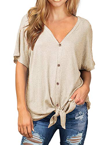 I2CRAZY Button Down Shirts for Women Short Sleeve Waffle Knit Tie Knot Tops Tunic Blouse - M,Beige ()