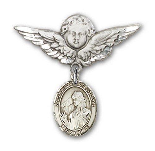 Icecarats Créatrice De Bijoux En Argent Sterling St. Finnian De La Broche Badge Clonard Charme D'Ange 1 1/8 X 1 1/8