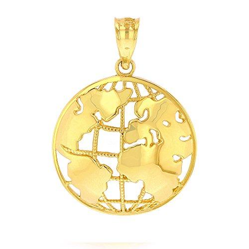 Yellow Gold Globe Charm (10k World Globe Charm Pendant (yellow-gold))