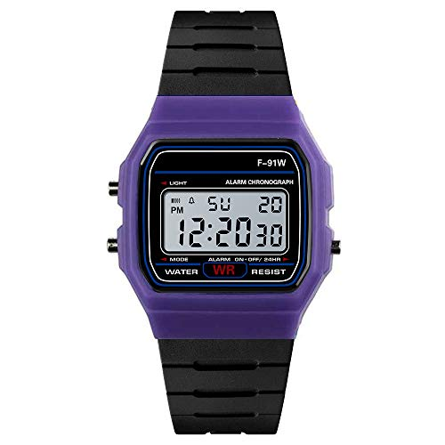 IslandseLuxury Men Analog Digital Military Sport LED Waterproof Wrist Watch (Purple) (Led Watch Women Swatch)