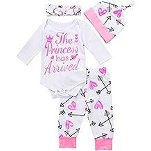 FocusNORM Baby Girls Pants Set, Newborn Infant Toddler Princess Letter Romper Arrow Heart Pants Hats Headband Clothes Set