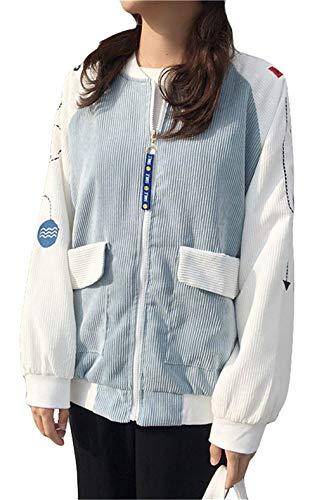 Fashion Allentato Outerwear Blau Semplice Autunno Giacca Haidean Manica Lunga Ricamo Con Glamorous Cerniera Rotondo Cappotto Primaverile Eleganti Collo Sciolto Donna Giaccone 6wUqwpRT