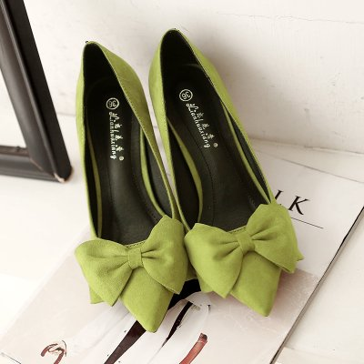 Xue Qiqi Satin Schuhe fein mit hohen Absätzen fein Schuhe mit 5 cm süße Spitze rosa Schleife binden Sie ein Schuh und vielseitig mit Angesichts der Frauen Schuhe, 36, Grün 8 cm zu arbeiten - eac3c7
