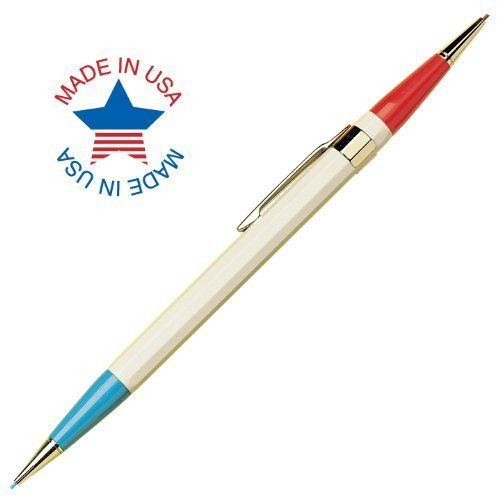 Autopoint® Twinpoint® Pencil, 0.9mm, Red Tip, Blue Tip, Ivory Barrel, American Made (20310)