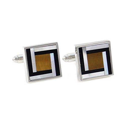 MENDEPOT Classic Square Tiger Eye Onyx And Mother Of Pearl Stone Cufflink With Gift Box (Square)