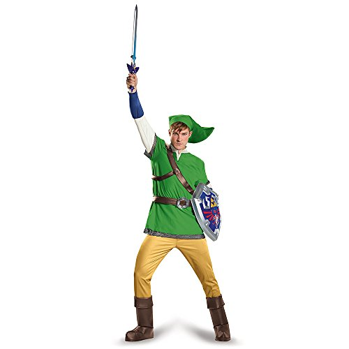 Disguise Men's Link Deluxe Adult Costume, Green, X-Large