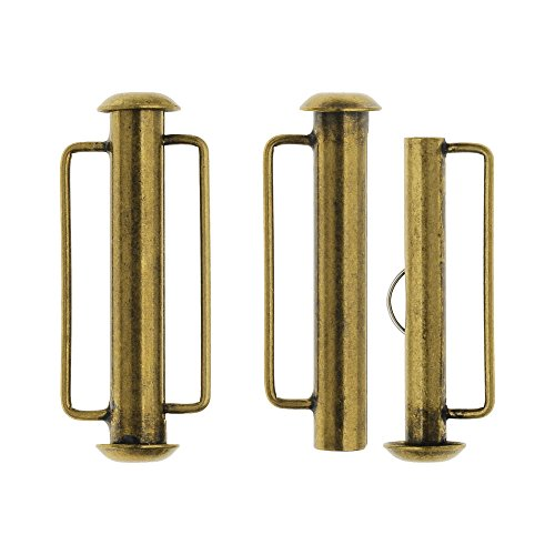 Loop Clasp Set (Slide Tube Clasps, with Bar Loops 26.5x10.5mm, 2 Sets, Antiqued Brass Plated)