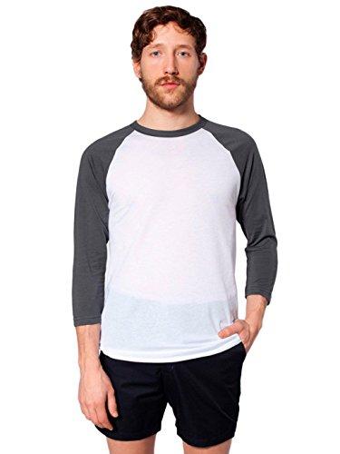 American Apparel Men 50/50 Raglan 3/4 Sleeve T-Shirt Size XL White/Asphalt