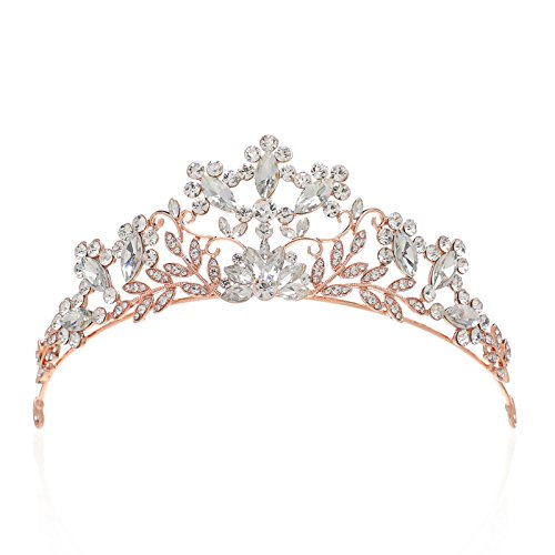 SWEETV Shining Rhinestone Tiara Crystal Crown Wedding Hair Accessories Jeweled Head Pieces for Women, Rose Gold