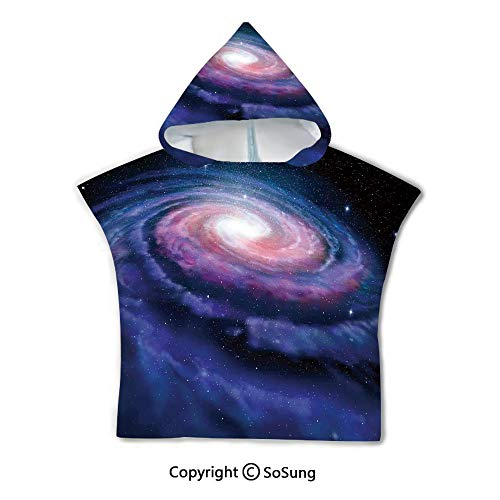 Galaxy Toddler Hooded Beach Bath Towel,Nebula in Outer Space Spiral Stardust Mist Cloud of Dust Planetarium Astronomy Art,1-7 Years Old Microfiber Bath Robe,Mauve Blue,for Beach Pool Shower ()